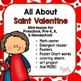 All About St. Valentine Minilesson for Preschool, PreK, K, & Homeschool