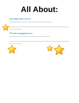 """All About"" Star Student Worksheet"