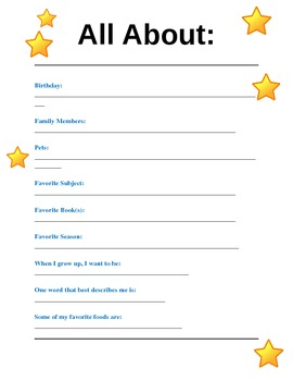 """""""All About"""" Star Student Worksheet"""