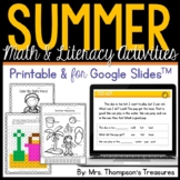 All About Summer - Print and Go - Math & Literacy - No Prep