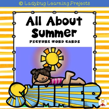 All About Summer Vocabulary Picture Word Cards for Kindergarten
