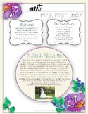 All About Teacher Purple Flowers *EDITABLE*