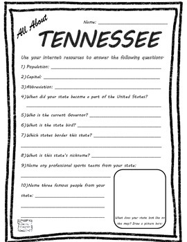 All About Tennessee - Fifty States Project Based Learning Worksheet