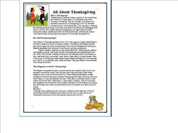 All About Thanksgiving (Informational Handout, Crossword, and Answer Key