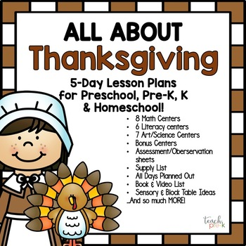 All About Thanksgiving! Lesson Plan for Preschool, Pre-K, K, & Homeschool