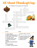 All About Thanksgiving Printable Game Set - Crossword Puzz