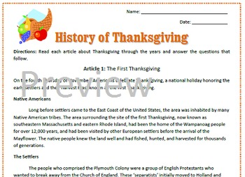 All About Thanksgiving Reading / Sub Plan