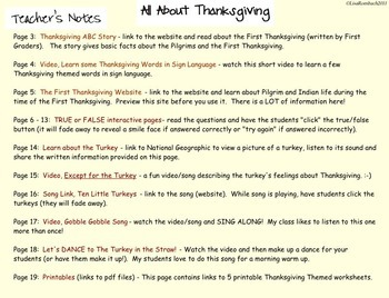 All About Thanksgiving SmartBoard Lesson for Primary Grades version2