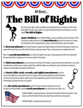 All About... The Bill of Rights (Reading Activities and Drawing Activity)