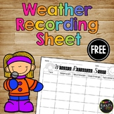 Weather Recording Sheet