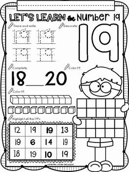 All About The Number Nineteen ~ No Prep Math Printables for Kindergarten