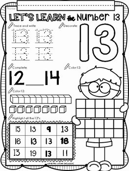All About The Number Thirteen ~ No Prep Math Printables for Kindergarten