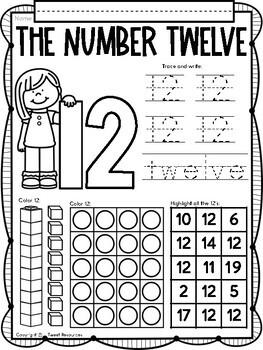 All About The Number Twelve ~ No Prep Math Printables for Kindergarten