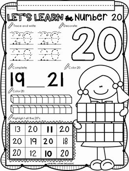 All About The Number Twenty ~ No Prep Math Printables for Kindergarten
