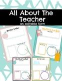 All About The Teacher Editable