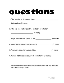 All About Time Student Handout and Worksheet