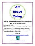 All About Today - Calendar and Math activities