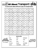 All About 'Transport' Word Search / Word Find Fun Activity