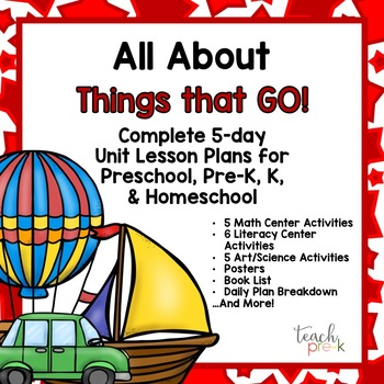 All About Transportation 5-day Lesson Plans for Preschool, PreK, K & Homeschool