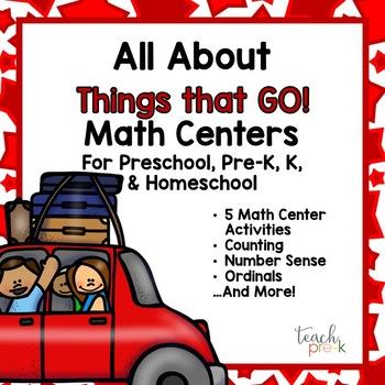 All About Transportation Math Centers for Preschool, PreK, K & Homeschool
