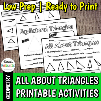 All About Triangles Printable Activity Pages