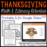 Thanksgiving Activities Printable and for Google Slides™ Distance Learning