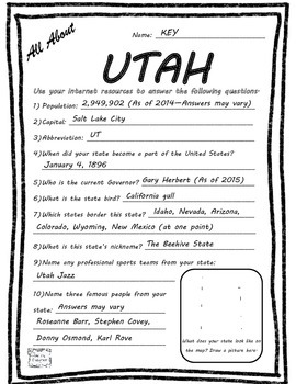 All About Utah - Fifty States Project Based Learning Worksheet