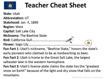 All About Utah | US States | Activities & Worksheets