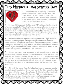 All About Valentine's Day - Nonfiction Reading Comprehension