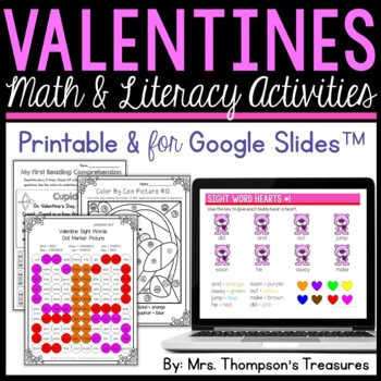 All About Valentine's Day - Print and Go - Math & Literacy