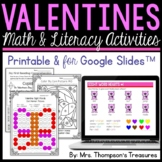 Valentine's Day Activities Printable and for Google Slides™ Distance Learning