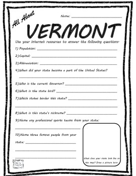 All About Vermont - Fifty States Project Based Learning Worksheet