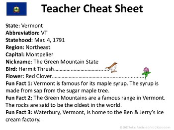 All About Vermont | US States | Activities & Worksheets
