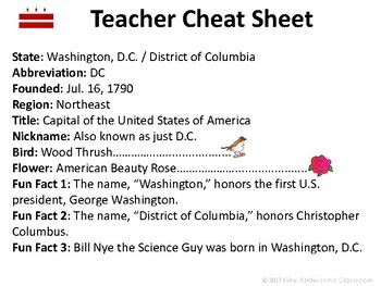 All About Washington DC | US States | Activities & Worksheets
