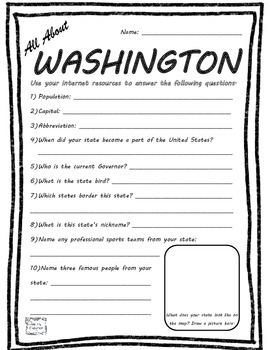 All About Washington - Fifty States Project Based Learning