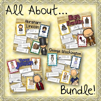 All About Washington, Jefferson, Lincoln, and Franklin Posters and Books BUNDLE!