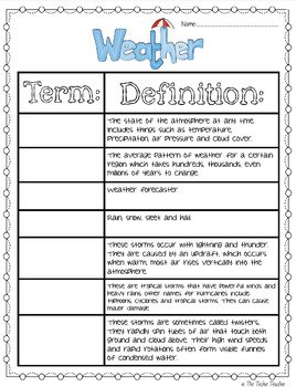 Weather Powerpoint and Notes Sheet