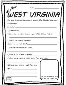 All About West Virginia - Fifty States Project Based Learn