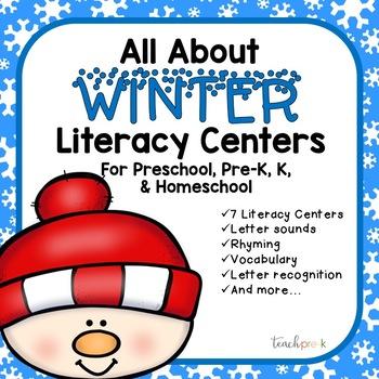 All About Winter Literacy Centers for Preschool, PreK, K, & Homeschool