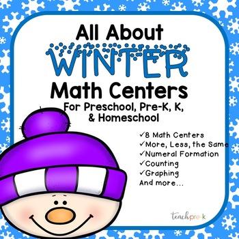 All About Winter Math Centers for Preschool, PreK, K, & Homeschool