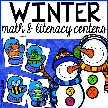 Winter Math and Literacy Centers for Preschool, Pre-K, and