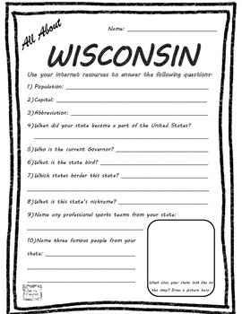 All About Wisconsin - Fifty States Project Based Learning Worksheet