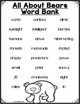 All About Woodland Animals-BEARS!!! (crafts, writing activities, & much more)