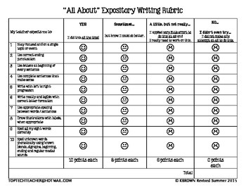 """All About"" Writing Rubric for 1st Grade - First Grade"