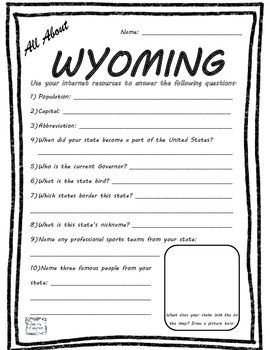 All About Wyoming - Fifty States Project Based Learning Worksheet