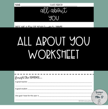 All About You: Getting to Know You Back to School Activity