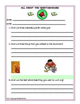 All About You Questionnaire