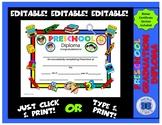 Preschool Diploma -  School Stuff Theme - Editable