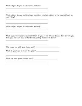 All About You - Student Background Inventory Worksheet