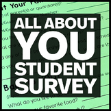 All About Me Questions First Day of School - Student Survey First Week of School